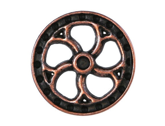 2 Steampunk Flywheel 7/8 inch ( 23 mm ) Metal Buttons Antique Copper Color