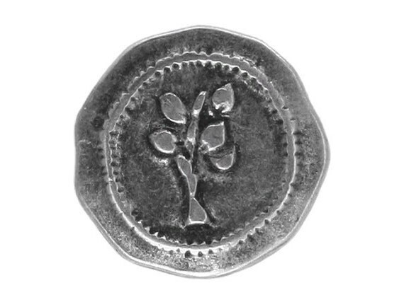 12 Rustic Tree 7/8 inch ( 22 mm ) Metal Buttons Antique Silver Color