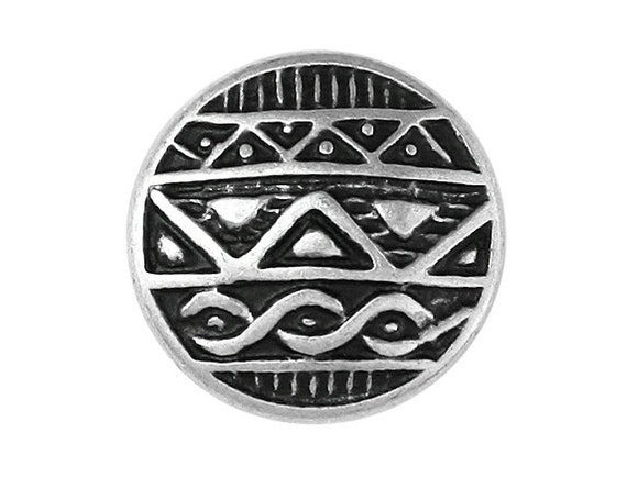 12 Round African Shield 7/8 inch ( 22 mm ) Metal Buttons Silver / Black Color