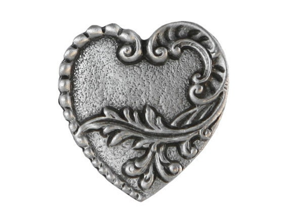 2 Victorian Heart 7/8 inch ( 23 mm ) Metal Pewter Buttons