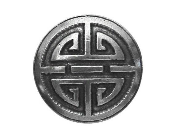 Danforth Oriental Round 7/8 inch ( 22 mm ) Pewter Metal Button