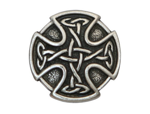 2 Celtic Cross 7/8 inch ( 23 mm ) Pewter Buttons