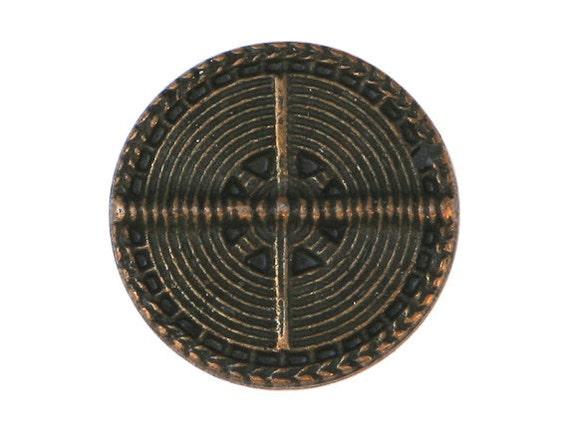 3 Wicker Wheel 7/8 inch ( 22 mm ) Metal Buttons Brass Color