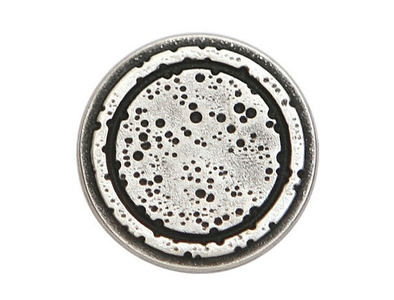 2 Rustic Rings 7/8 inch ( 22 mm ) Metal Buttons Silver Color