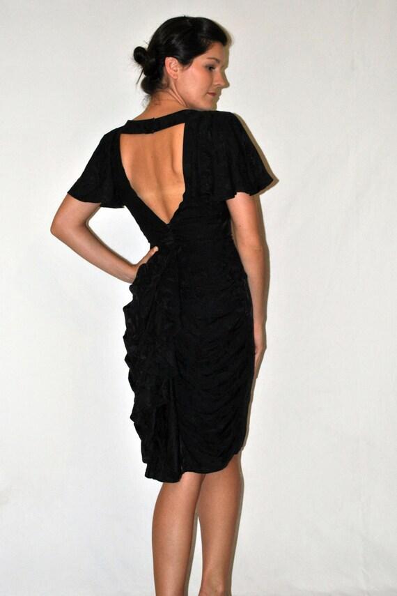 Vintage Dress -- Vintage 1960s Black Ruffled Silk Cocktail Dress by En Soir -- 1960s Dress --  Medium -- Spring Fashion -- Summer Fashion