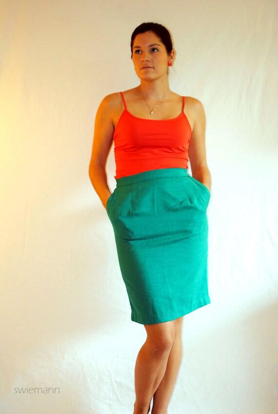 Vintage Skirt -- Vintage Teal Pencil Skirt by Patchington-- Vintage Pencil Skirt -- Spring Fashion -- Summer Fashion