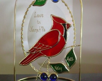 Cardinal on a Beveld Oval with Arched Ornament Stand