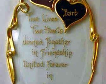 Two Lives Two Hearts - Personalized Sweetheart Beveled Glass Oval Ornament