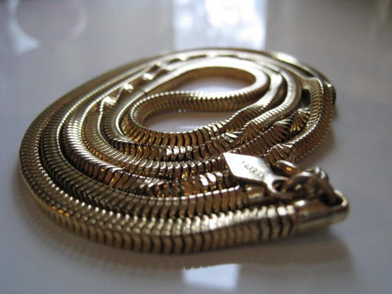 Vintage Long, Gold Tone Necklace - Signed Sarah Coventry - Snake Chain Necklace