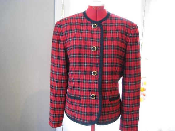 Vintage Pendleton Wool Jacket - 80s Red Tartan Plaid Blazer