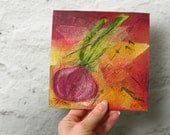 Red Onion Kitchen Wall Art, Mixed Media Collage, Vegetable Art, Mixed Media Painting, Original Mixed Media Art, Cottage Home Decor