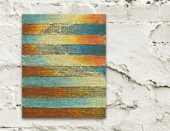 Caribbean Sunset 8x10 Art - Orange, Tangerine, Aqua, Blue & Turquoise Ocean Burlap Stripes - Abstract Mixed Media Collage Art