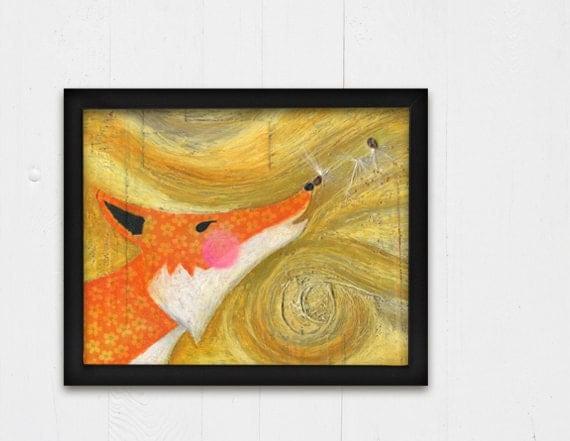 Orange Fox Children's Wall Art, Fine Art Print, Nursery Art, 8x10 Print, Art for Kids Room, Whimsical Art, Giclee Print, Cute Animal Art