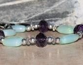 aqua opalite, puple crystal, bracelet, sister gift, Mothers gift, silver beaded