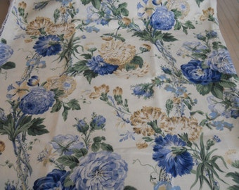 Kaufman Fabric,Large Floral Print, Shades of Blue, Green, Biege, Yardage
