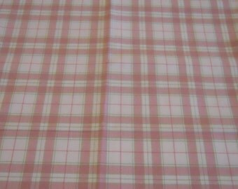 Pink Plaid Cotton Fabric with white, pink, and green