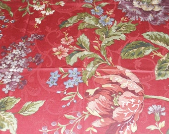 """Waverly Fabric """"Carriage House Rose"""", Burgandy Background, Large Floral Print, Purple, Blue, Green"""