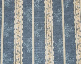 Blue Stripe Fabric, Waverly Fabric, Chambray, Drapery Fabric
