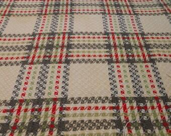 Vintage  1950's Homespun Type Plaid Fabric