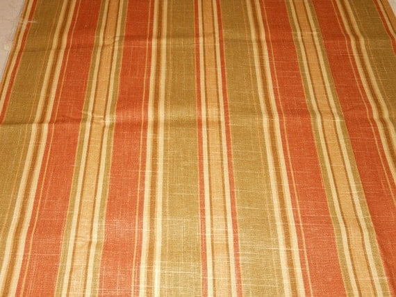 Stripe Fabric, green gold rust tan brown, from Mill Creek Fabrics, 3/4 yd