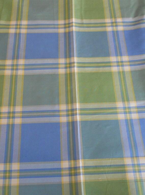 Plaid Fabric in Silk Taffeta, Blue, Green, Yellow - 1 yd