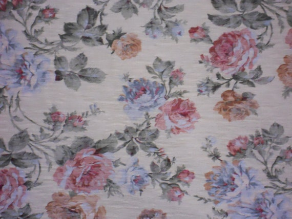 Beautiful Floral Fabric, Soft Yellow, Pink, Blue, Gold