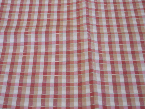 woven check plaid fabric gold rose pink green white. Black Bedroom Furniture Sets. Home Design Ideas
