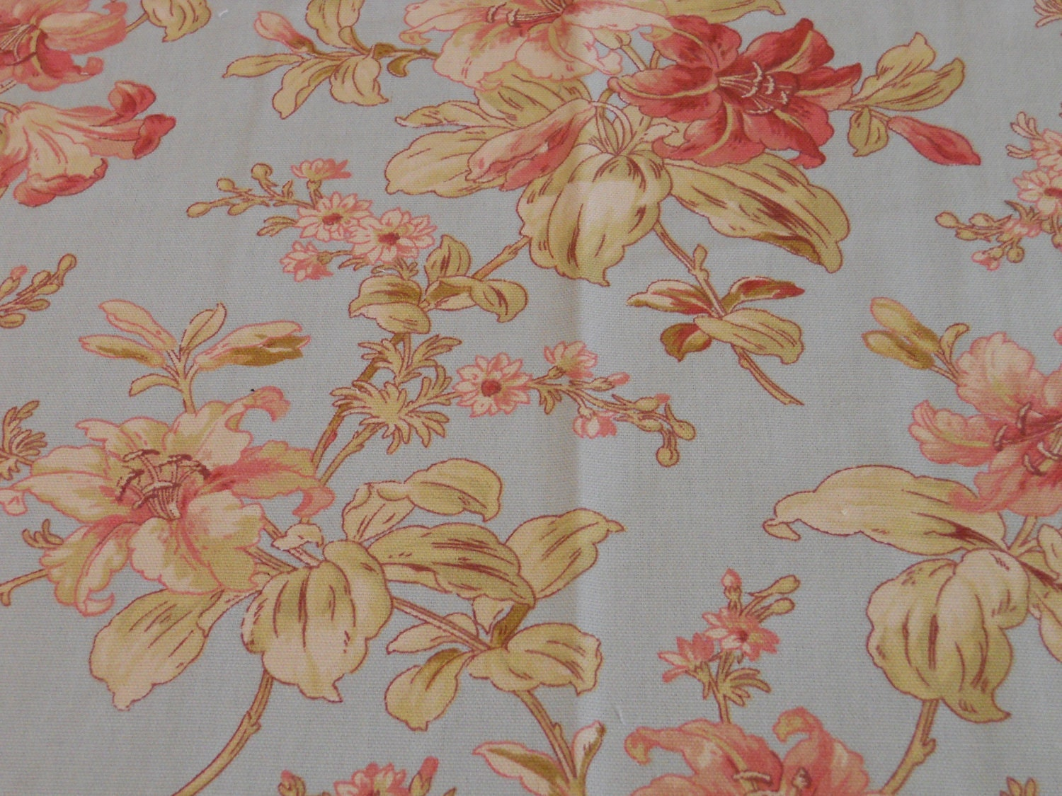 Blue Floral Fabric Waverly Fabric Pink Floral Fabric