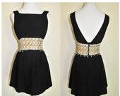 Vintage 60s Edie Dress/ Vtg 1960s Black Sequin Mini Tunic Dress With Metal Zipper