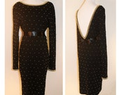 Vtg The Little Miss Trouble Dress/ Vintage Black Dress Covered in Gold Studs
