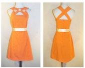 Vtg Flower Power Dress/ Vintage Mod Cutout Mini Dress with Daisy Embellishments