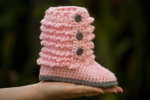 Toddler Boot, Toddler Shoe, Furry Boot, Pink and Gray Crochet Toddler Slippers, Size 8