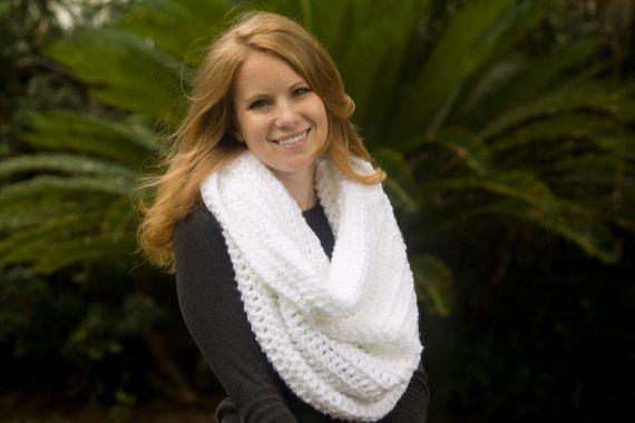 Hooded Cowl, Oversized Infinity Scarf, White Crochet
