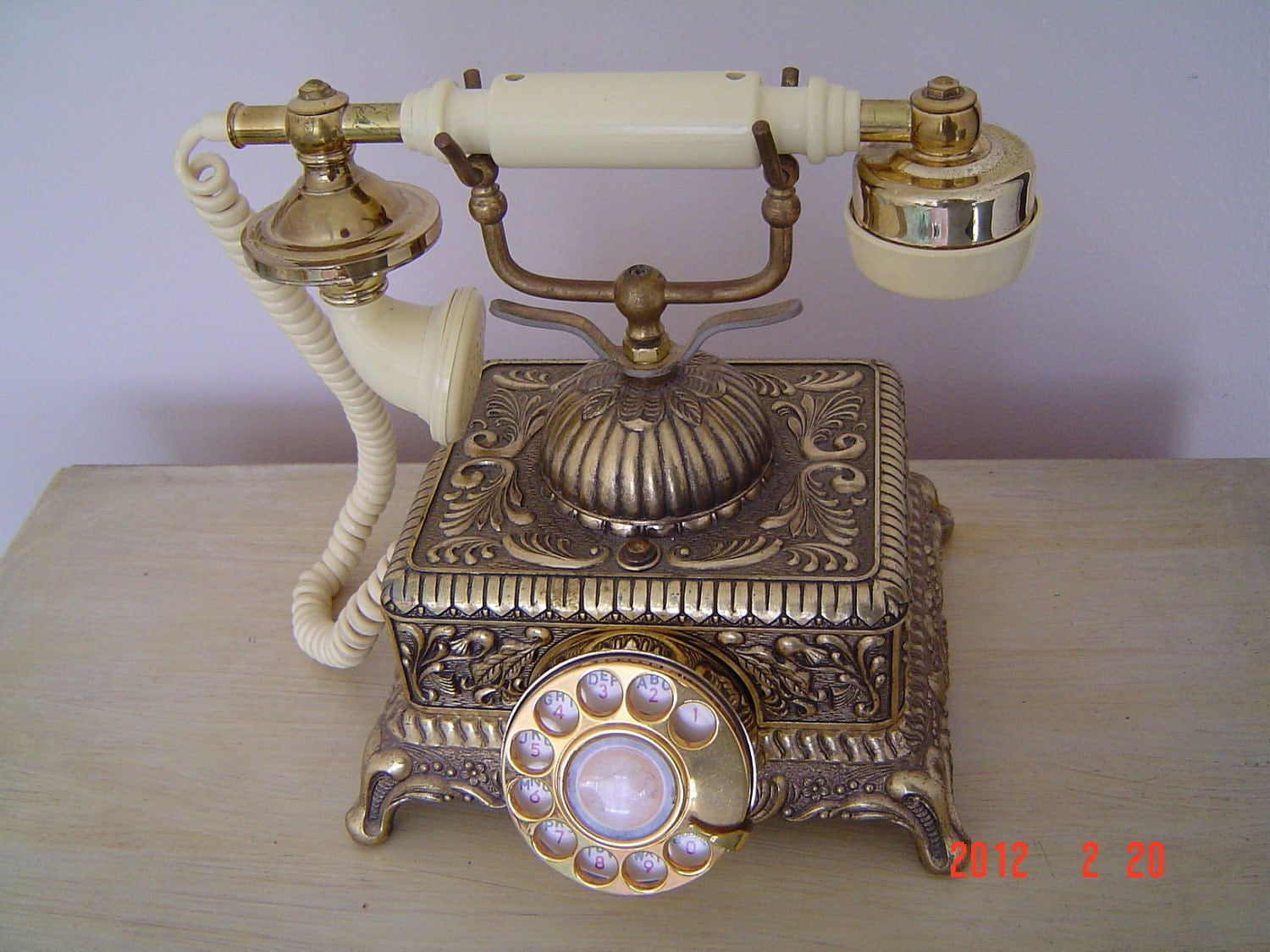 Vintage French Style Rotary Desk Telephone