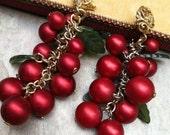 Sale Pending Romantic Spring Red Grape Earrings, Vintage Recycled