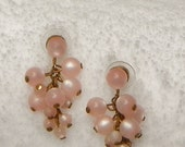 For Mom, Pink Grape Earrings, Vintage Lucite Pale Pink Beads, Pink Wedding, Spring Easter Surprise