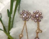 Vintage Bridal Violet-Lilac-Amethyst Rhinestone Earrings, Unique Artisan Designed Jewelry