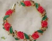 RESERVED Summer Coral Rose Bracelet-Bangle, Flower, Floral, Pearls, Romance...