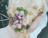 Decorative Spring Fashion Floral Bobby-Hair Pins, W West Germany Pink & White Glass, Vintage Recycle