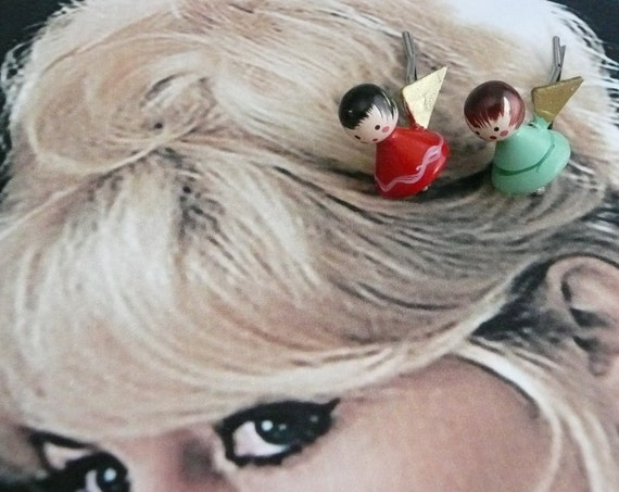 Decorative Hair Pins Jewelry 40's Toy Angel Hairpin Bobby Pins, Artisan Upcycled