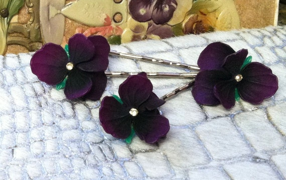 Summer Violet Flower Pansy Hair Pins, 1930 W West Germany Purple