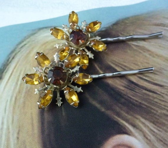 RESERVED Summer Sunflower Flower Floral Bobby-Hair Pins, Vintage Recycled