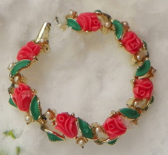 RESERVED Summer Coral Rose Bracelet-Bangle, Flower, Floral, Pearls, Romance...