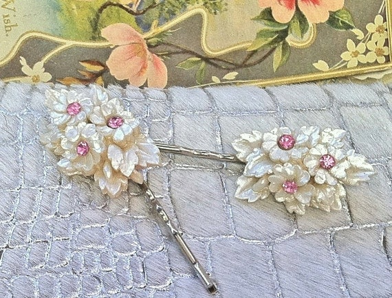SALE PENDING 1930-1940 Celluloid Floral Bobby-Hair Pins, Ivory Cream Flower Floral Pink Rhinestone, OOAK One of a Kind