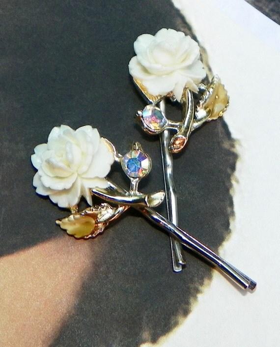 Vintage Bride Rose Decorative Bobby-Hair Pins, 1940's Ivory Cream Champagne Celluloid AB Aurora Borealis Rhinestone, Artisan Jewelry