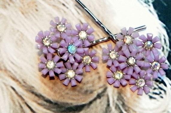 Decorative Vintage Summer Flower Hair Pins, 1930 1940's Recycled Lavender, Pale Violet, Purple AB Aurora Borealis Rhinestones