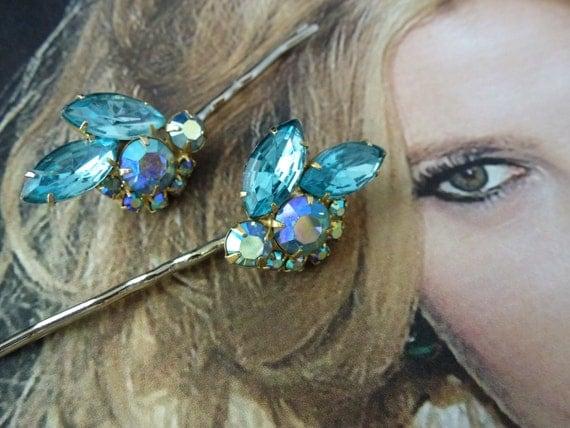 Unique Vintage Bridal Blue Crystal Bobby Pins, Unique Artisan