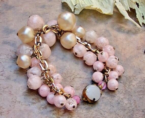 60's Vintage Pink Pearl Mad Men Bracelet