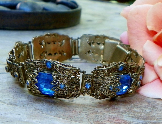 Art Deco-Nouveau Bridal Blue Filigree Bracelet