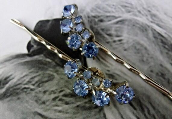 Decorative Bridal Blue Weiss Rhinestone Hair Pins, Vintage Recycled